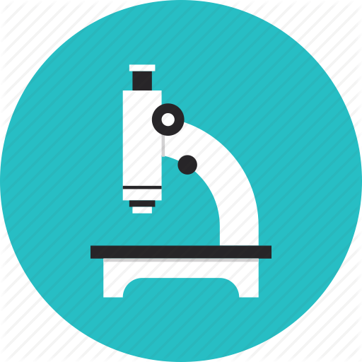 Microscope research science equipment biology analysis scrutiny laboratory flat design icon 512